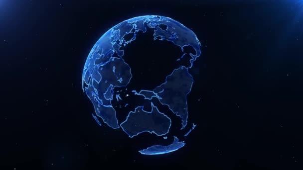 Futuristické Globe Earth Digital Hologram Spinning With Stars