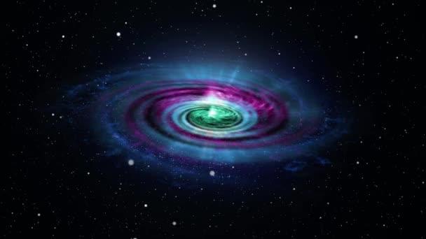 4k barevná galaxie se točí v bezešvé smyčce. Částicové vlny, nekonečná abstraktní mlhovina. Částicové pole
