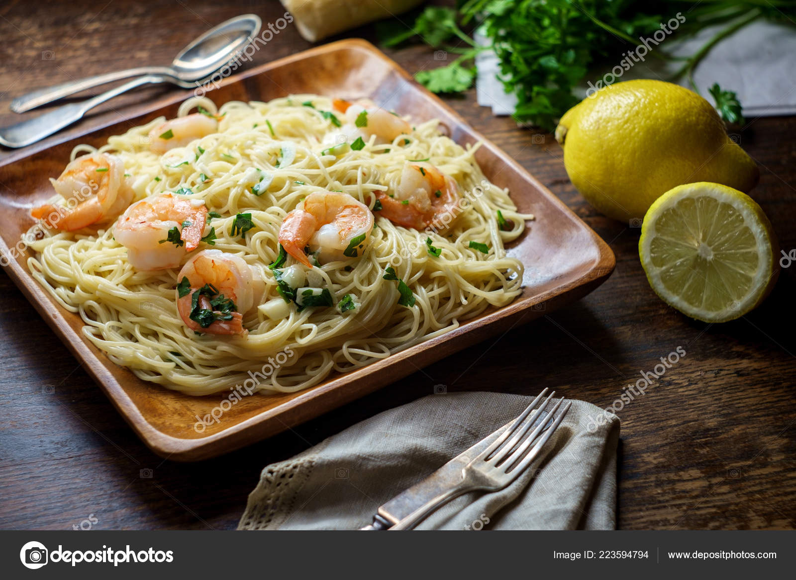 Shrimp Scampi Angel Hair Pasta Surrounded Cooking Ingredients