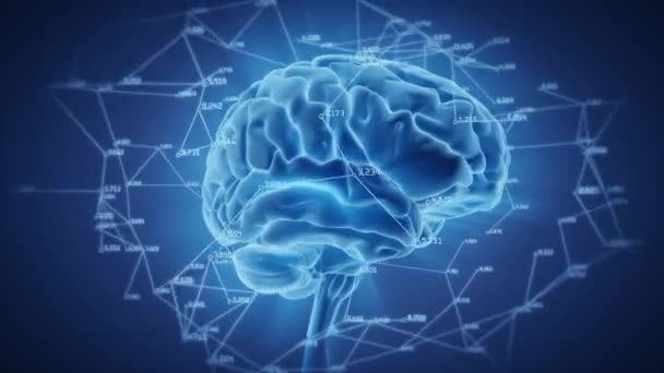 Human brain network rotation, glow effect