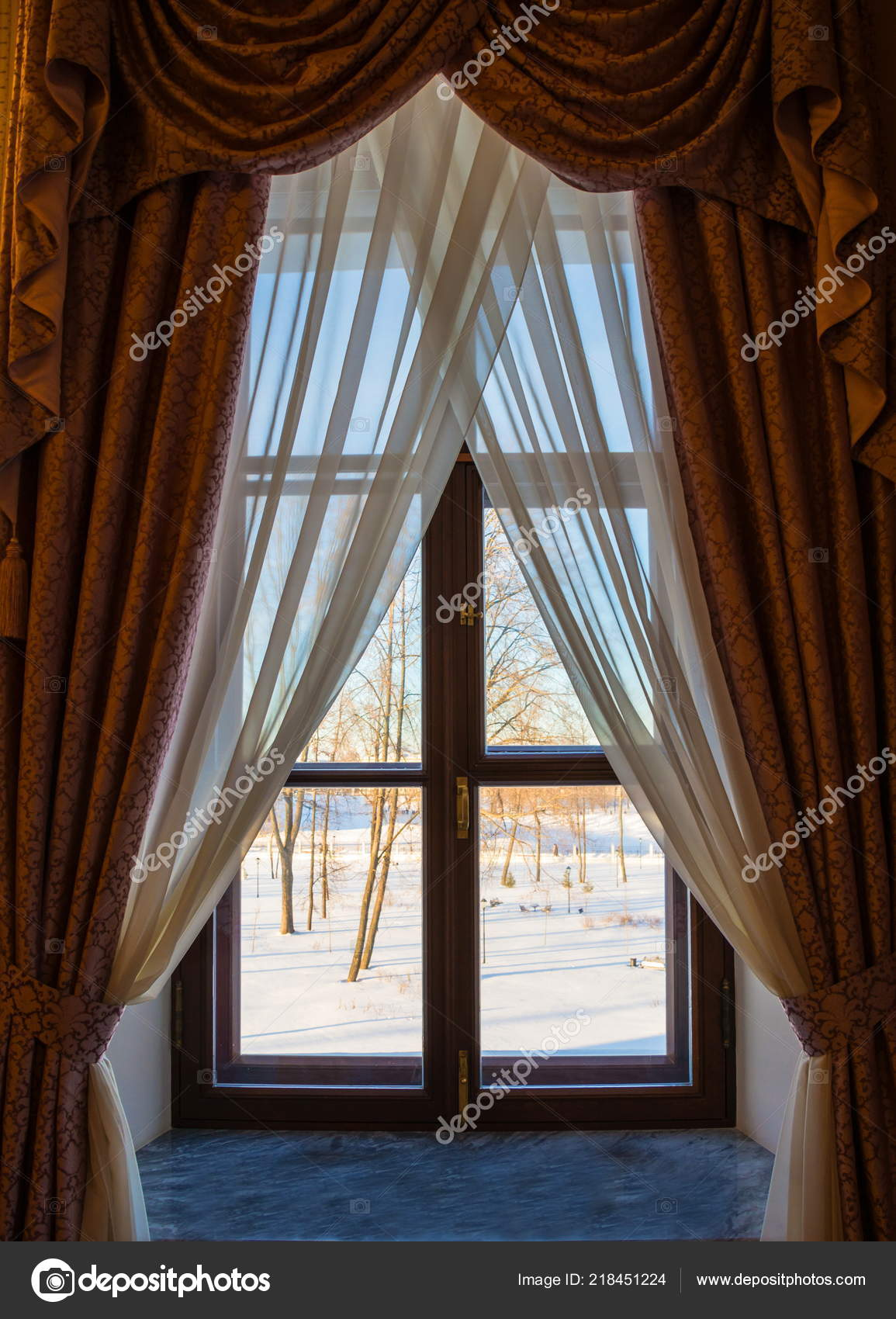 Winter Scene Window Curtains Window Beautiful Curtains Winter Landscape Window Stock Photo C Irinadance 218451224