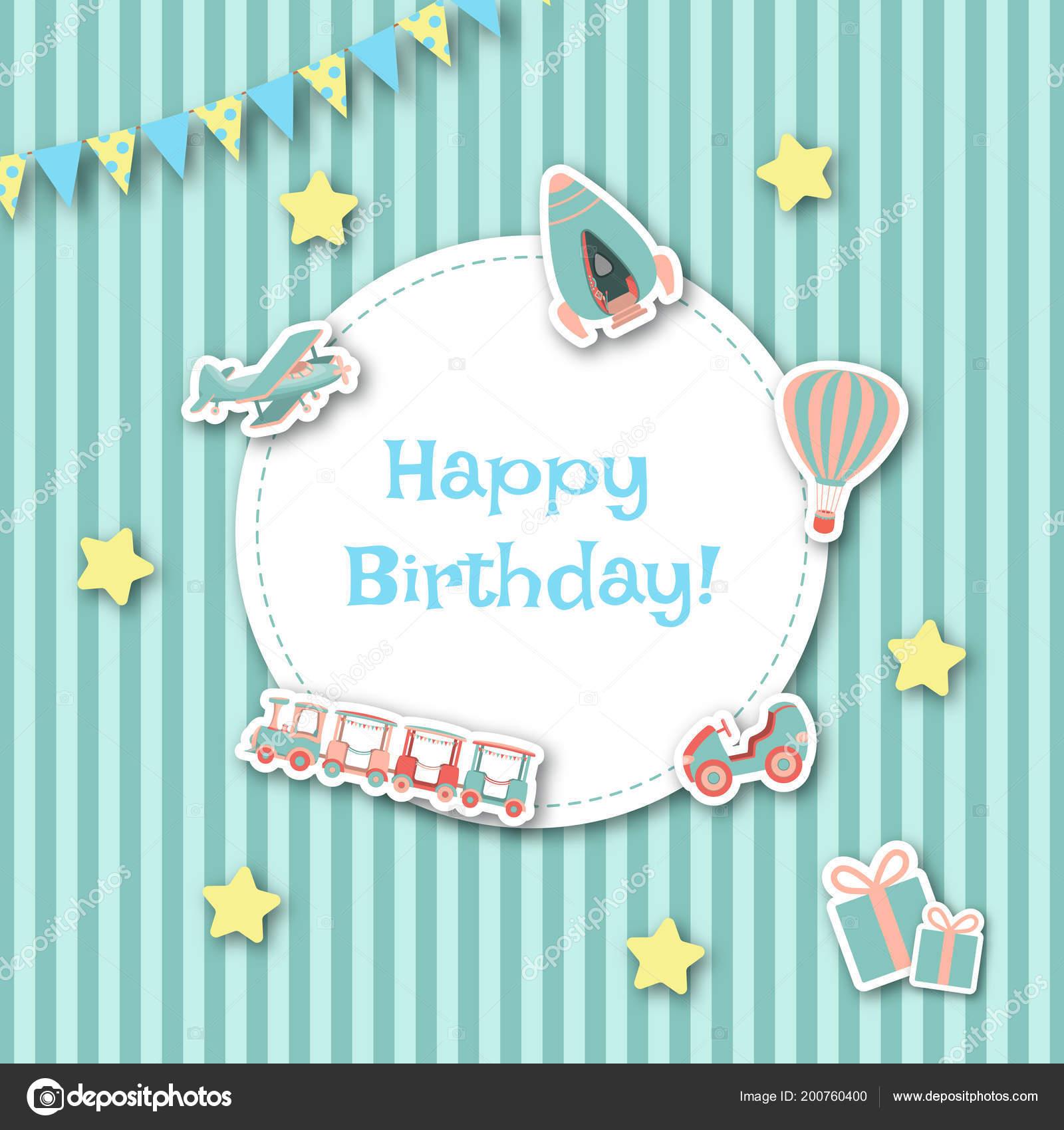Childish Birthday Card Car Air Balloon Rocket Train Airplane Gift Stock Vector