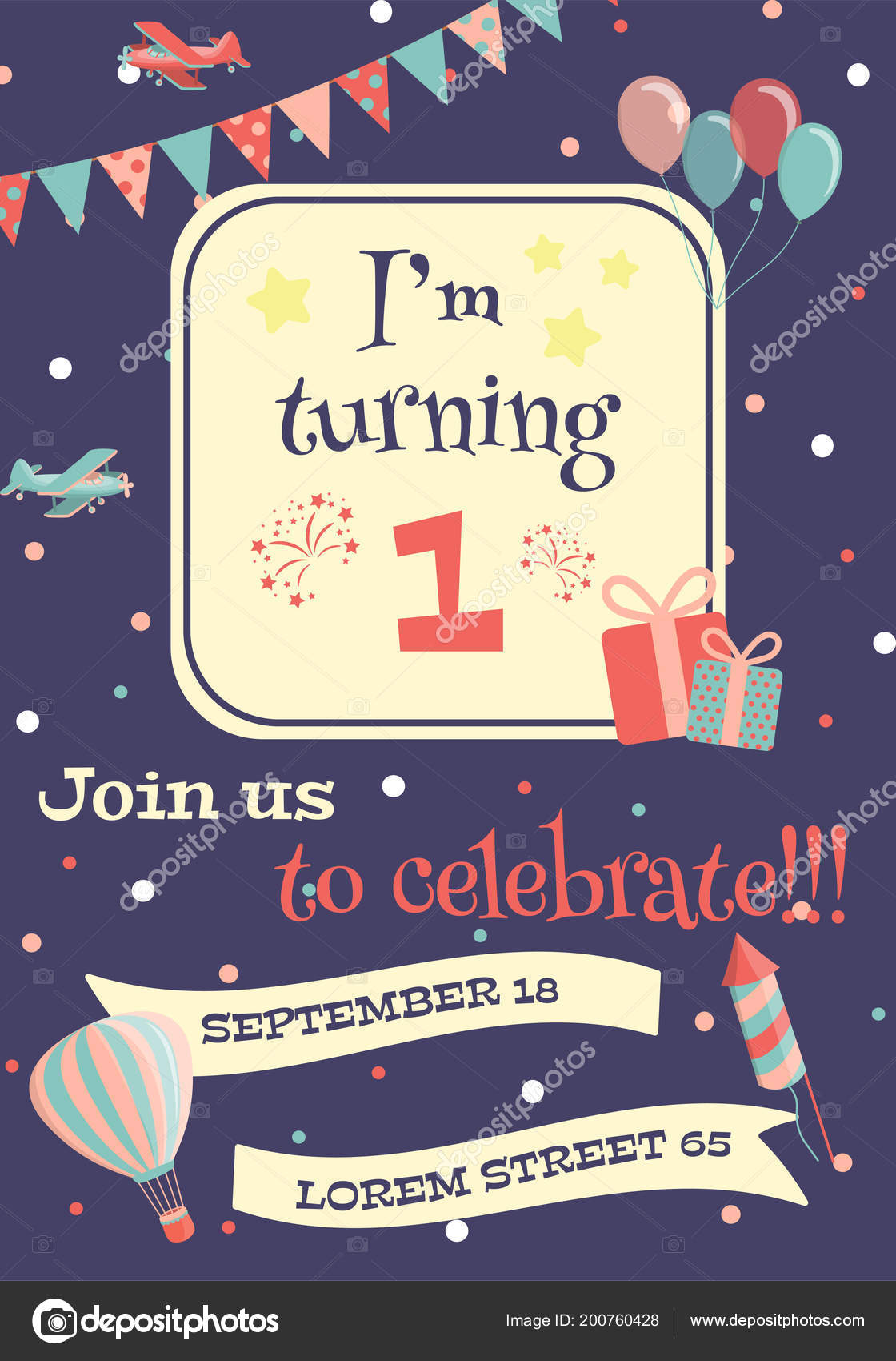 Tarjeta Invitación Fiesta Cumpleaños Niños Ilustración