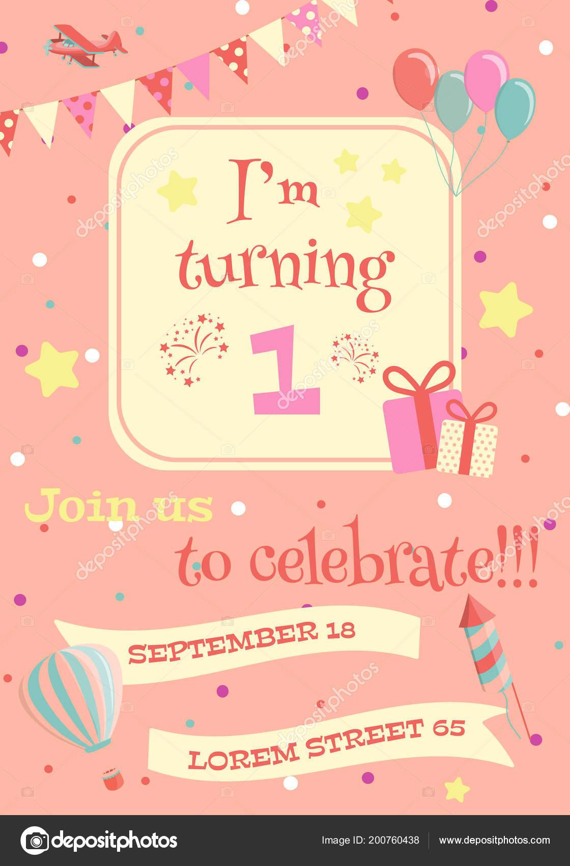 kids birthday party invitation card vector illustration stock