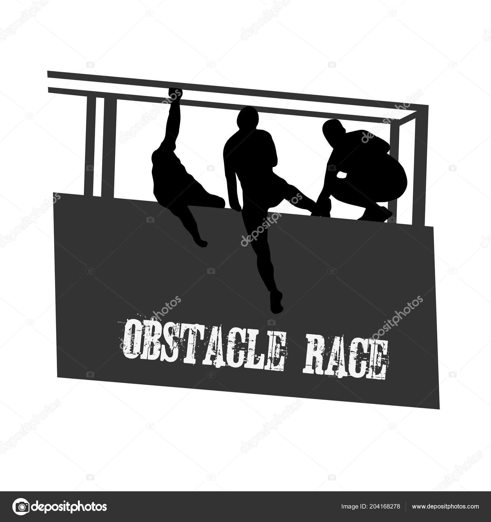 Black Silhouettes People Overcoming Obstacle Obstacle Race Symbol
