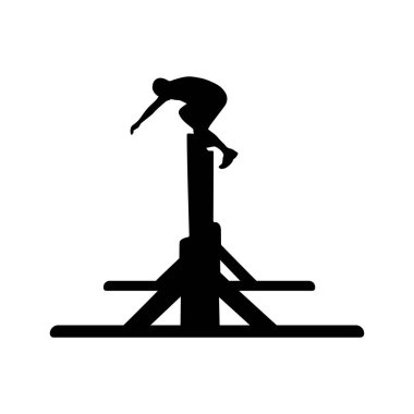 Black silhouette of a man jumping over the wall. Obstacle race symbol. Vector illustration.