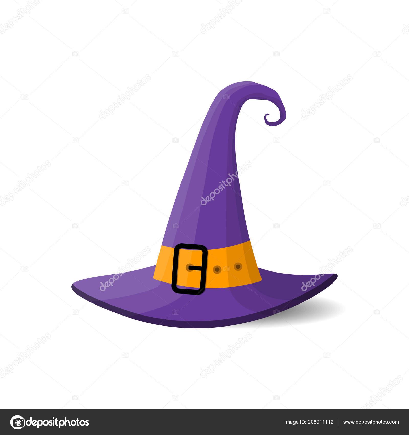 Chapeau Sorcière Violet Halloween Dessin Animé Illustration