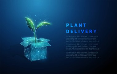 Abstract open box and green plant. Plant delivery icon. Low poly style design. Geometric background. Wireframe light connection structure. Modern 3d graphic concept. Isolated vector illustration icon