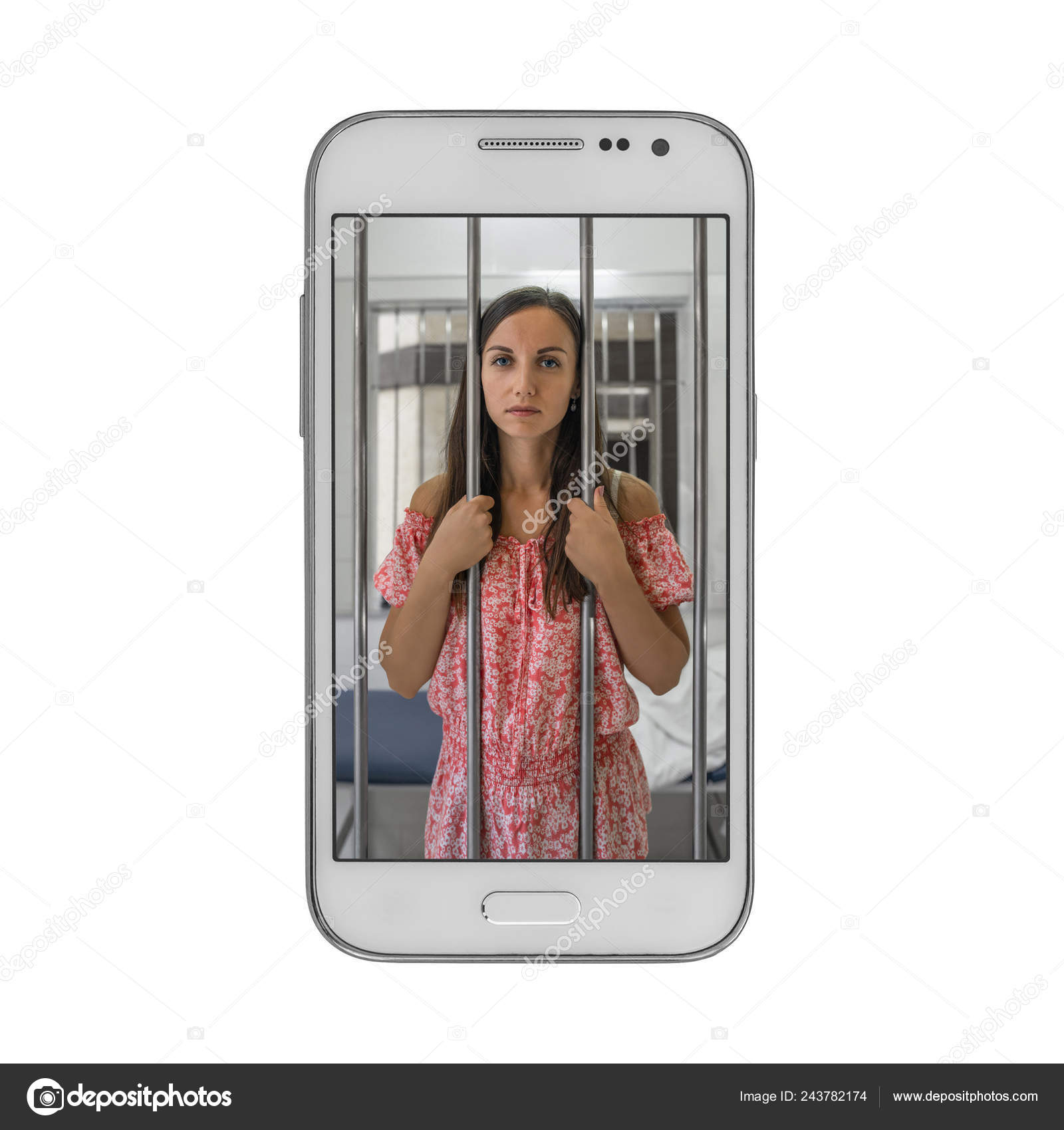 Young Woman Prisoner Jail Cell Phone Concept Dependence