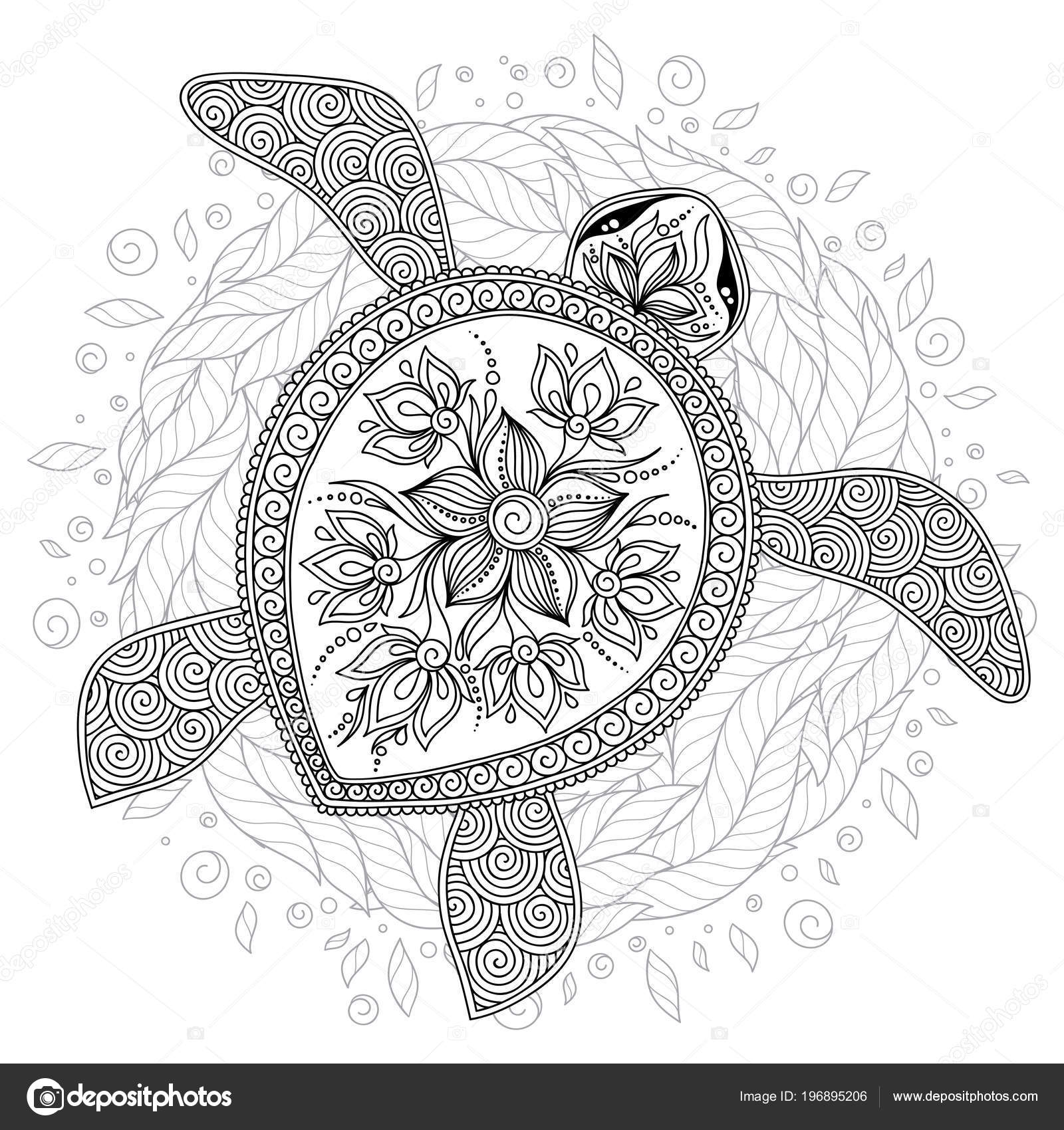 Mandala Sea Turtle Coloring Page