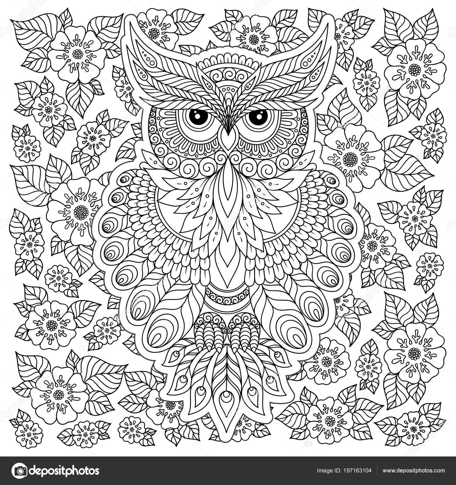 Volwassen Kleurplaten Uil.Decoratieve Uil Volwassen Stressprogramma Kleurplaat Zwart