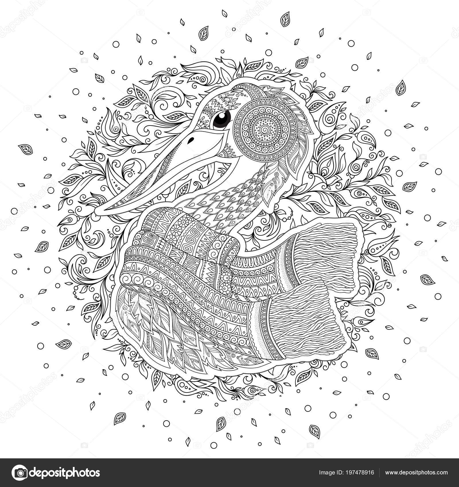 Cigüeña Zentangle Dibujado Mano Para Adultos Estrés Dibujos