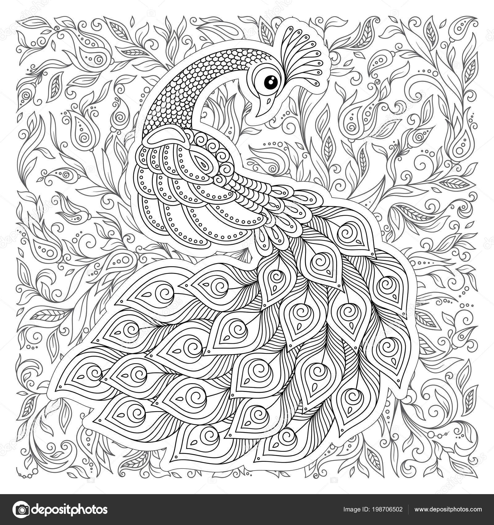 Coloriage Adulte Stress.Paon Zentangle Style Coloriage Adulte Stress Noir Blanc Main