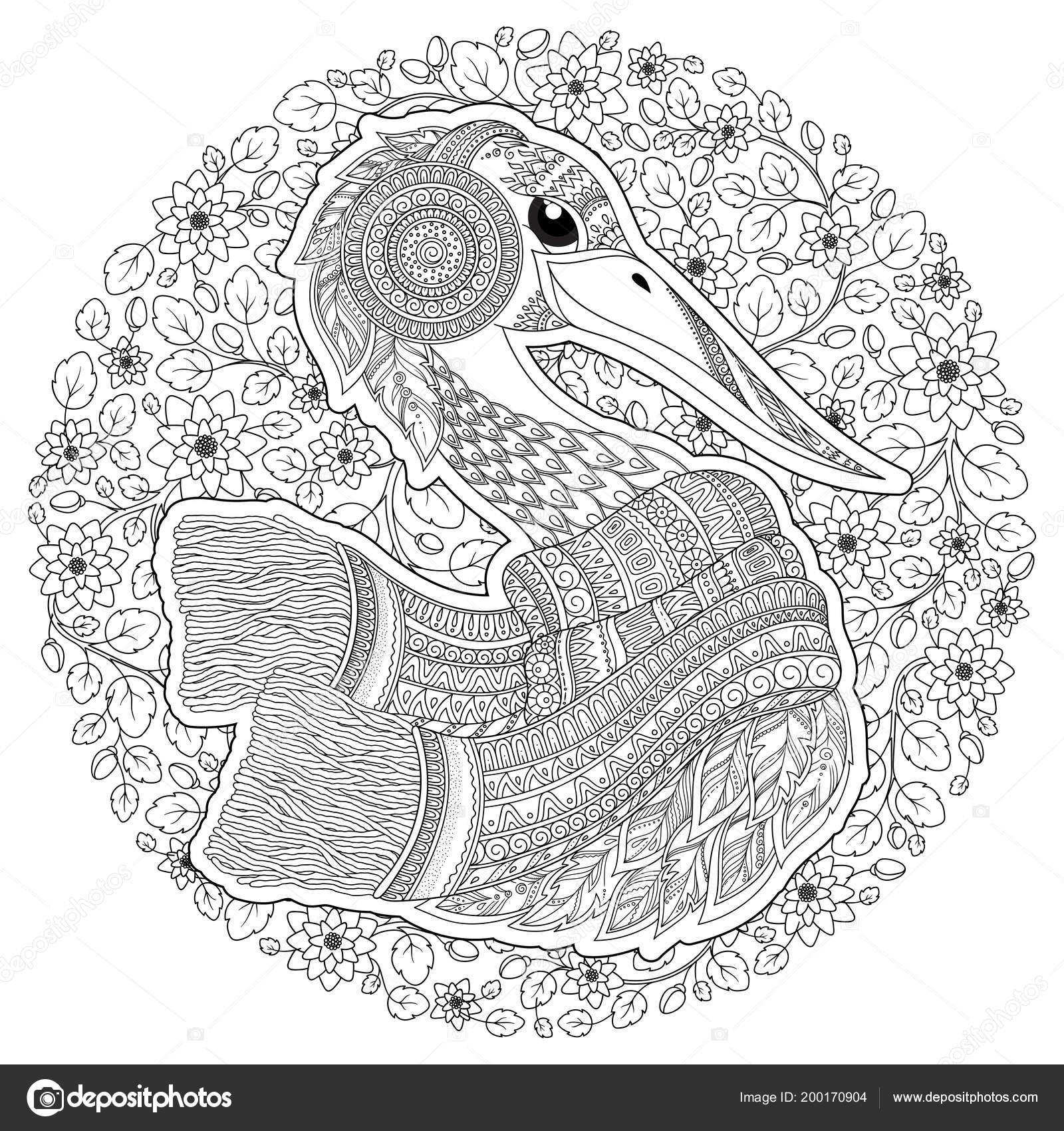Cigüeña Zentangle Dibujado Mano Para Adultos Estrés Dibujos Para ...