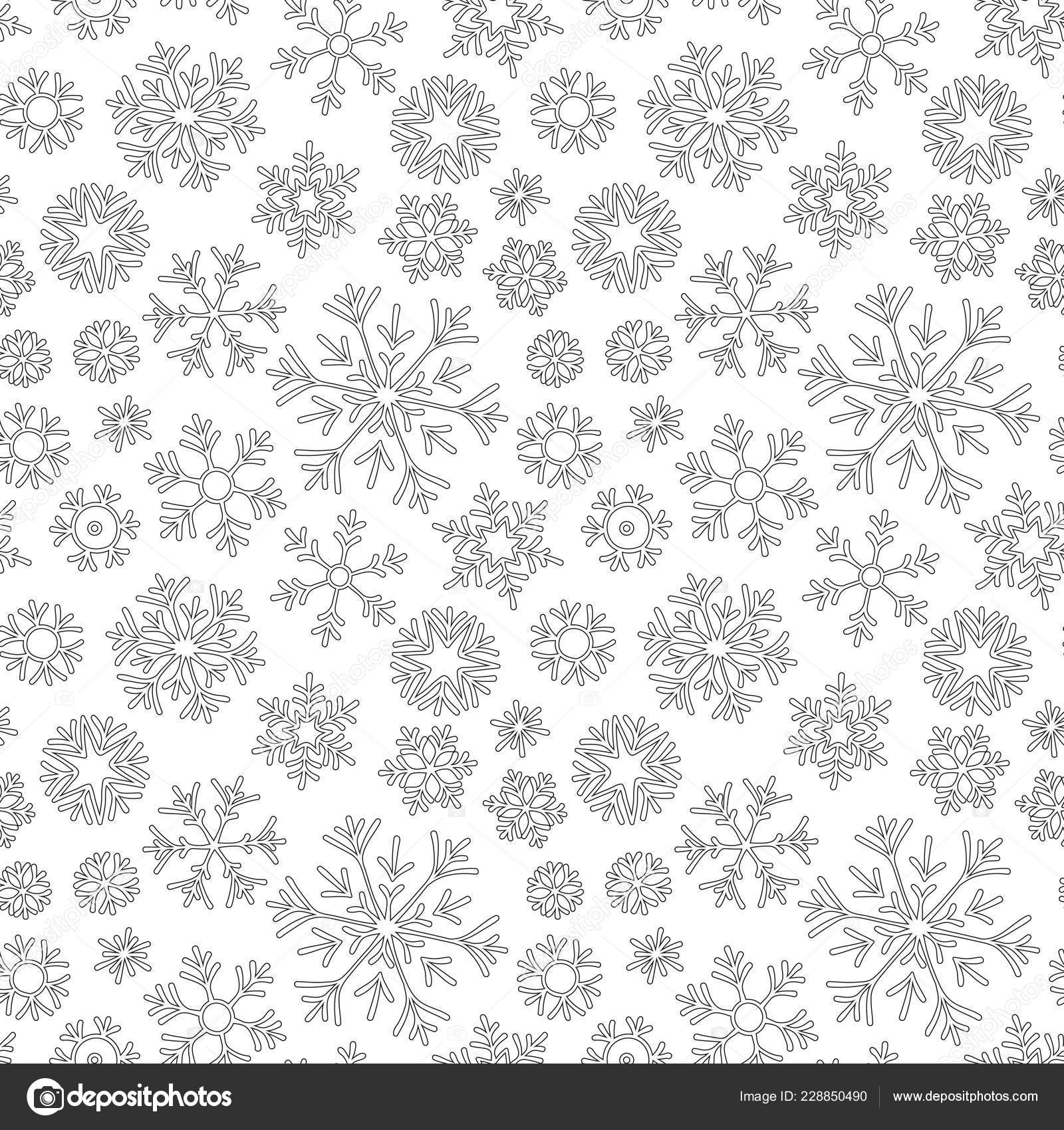 Seamless Pattern Winter Christmas Snowflakes Hand Drawn Coloring