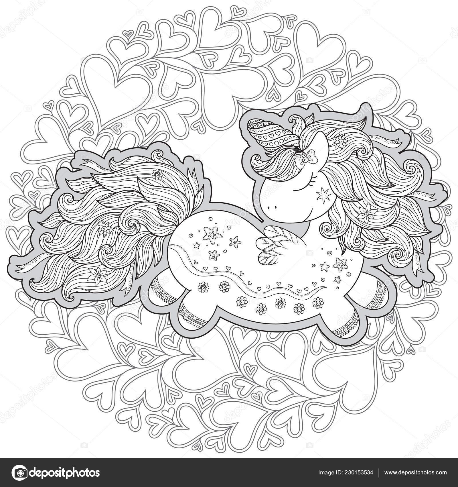 Unicornio Corazones Libro Para Colorear Para Los Niños
