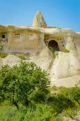 Photo front view of trees and old stone dwelling under bright blue sky, Cappadocia, Turkey
