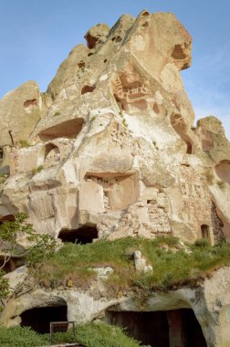low angle view of old cave dwellings at Goreme National Park, Cappadocia, Turkey