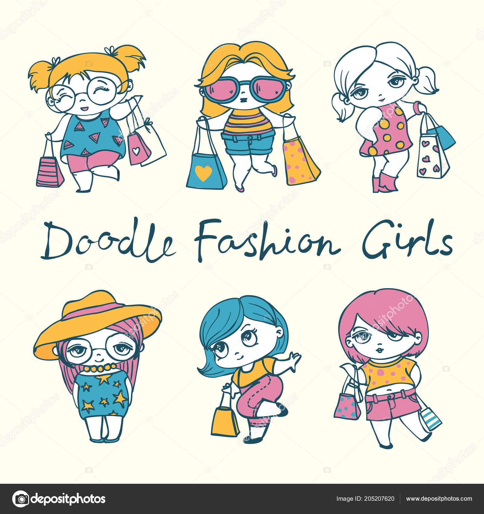 Set Colorful Doodle Girls Beige Background U2014 Vetor De Stock