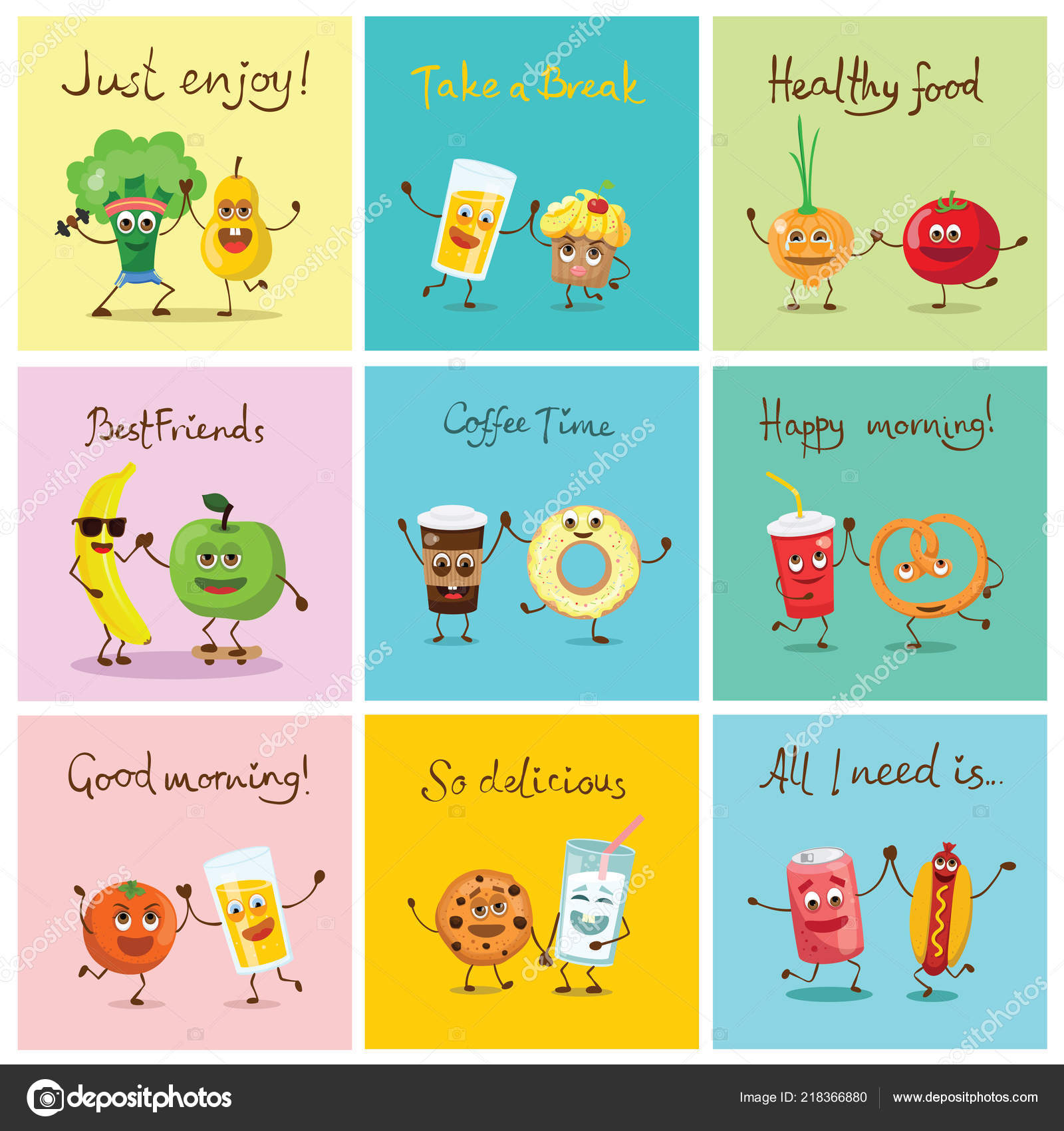 Set Cartoon Funny Food Posters Emotions — Stock Vector