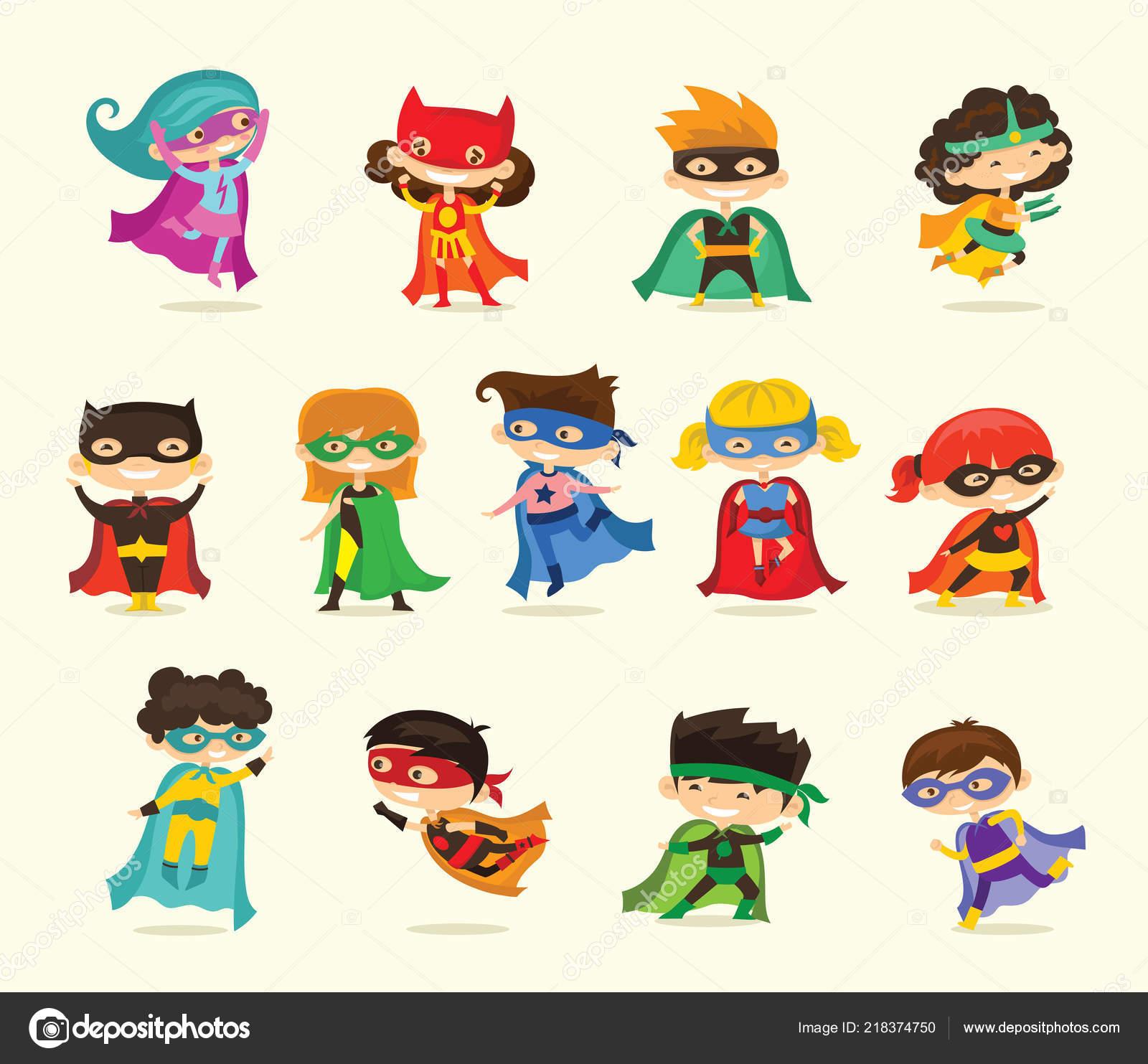 Dessin anim les enfants v tus costumes comics super h ros image vectorielle virinaflora - Comment dessiner un super heros fille ...