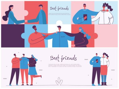 vector illustration design of cute cartoon best friends isolated on background