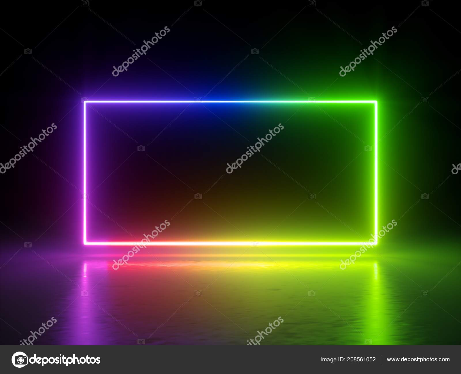 render vibrant rainbow colors laser show glowing spectrum rectangle