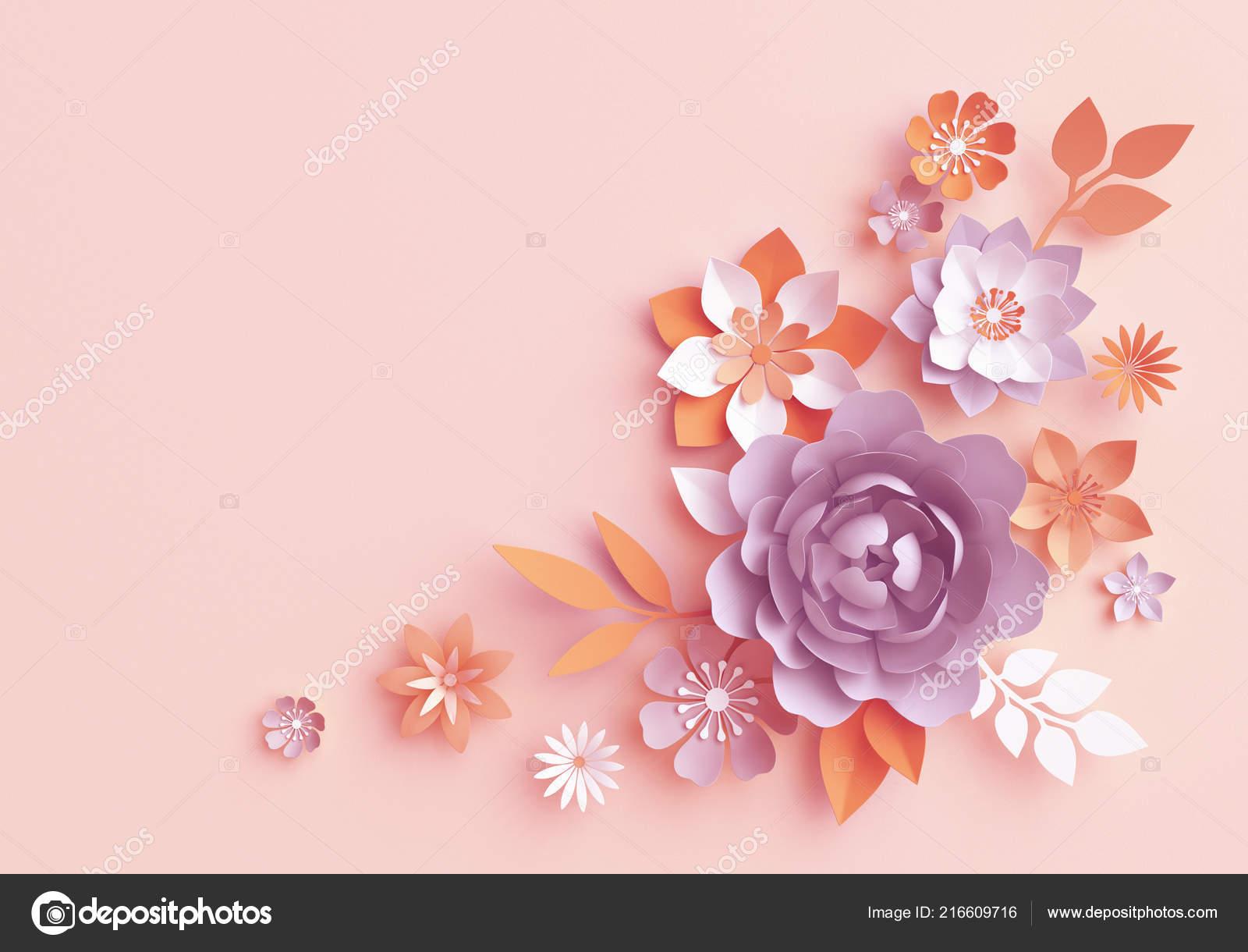 Render Flores Papel Caída Otoño Arreglo Botánico