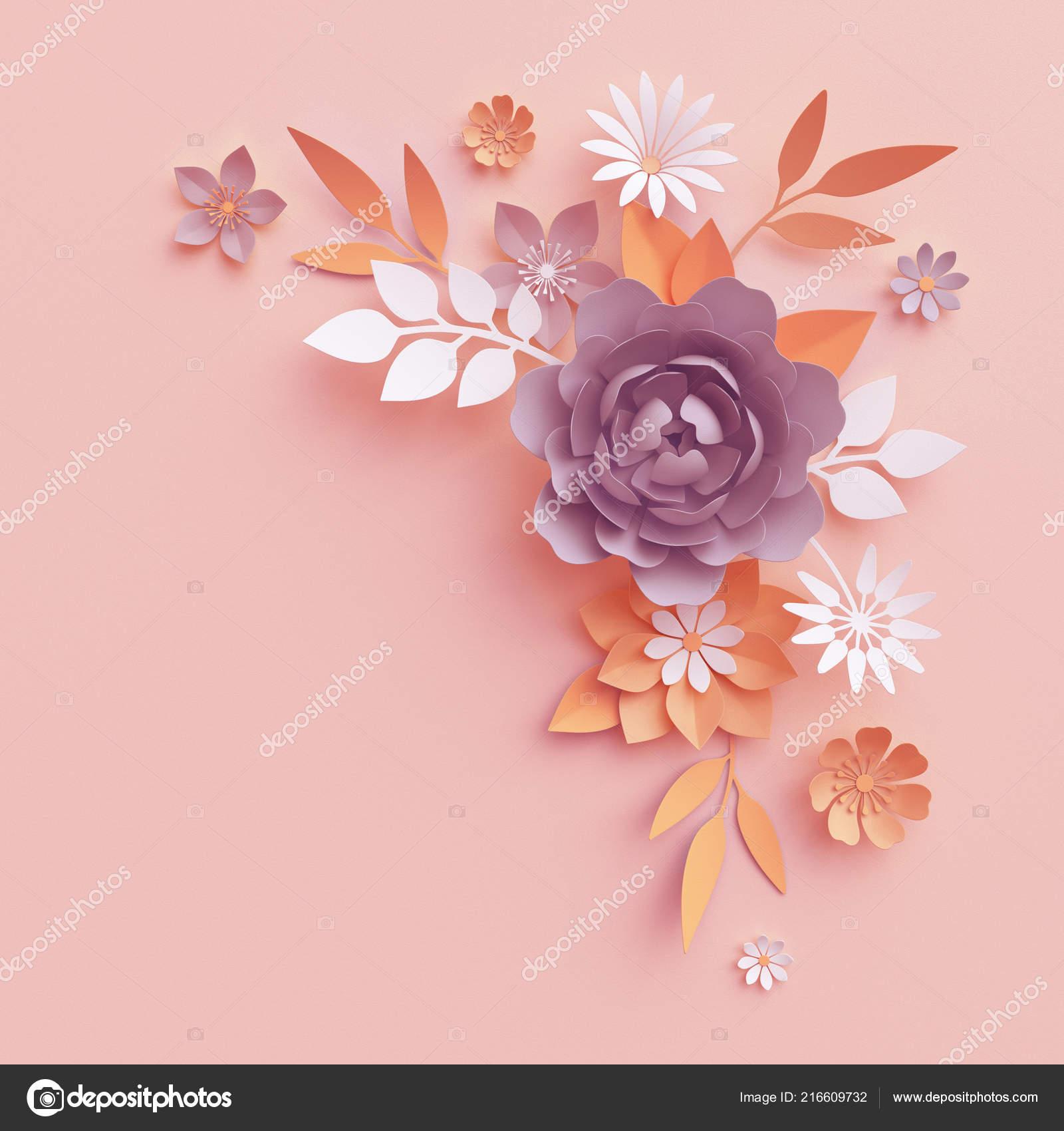 Render Flores Papel Caída Arreglo Botánico Arte Floral Clip
