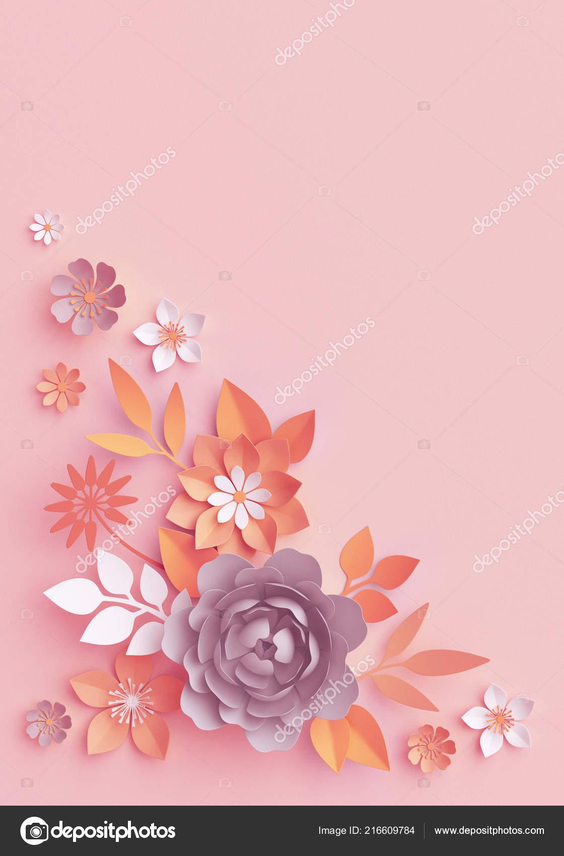 Render Herbst Papierblumen Botanische Anordnung Danksagung Floral