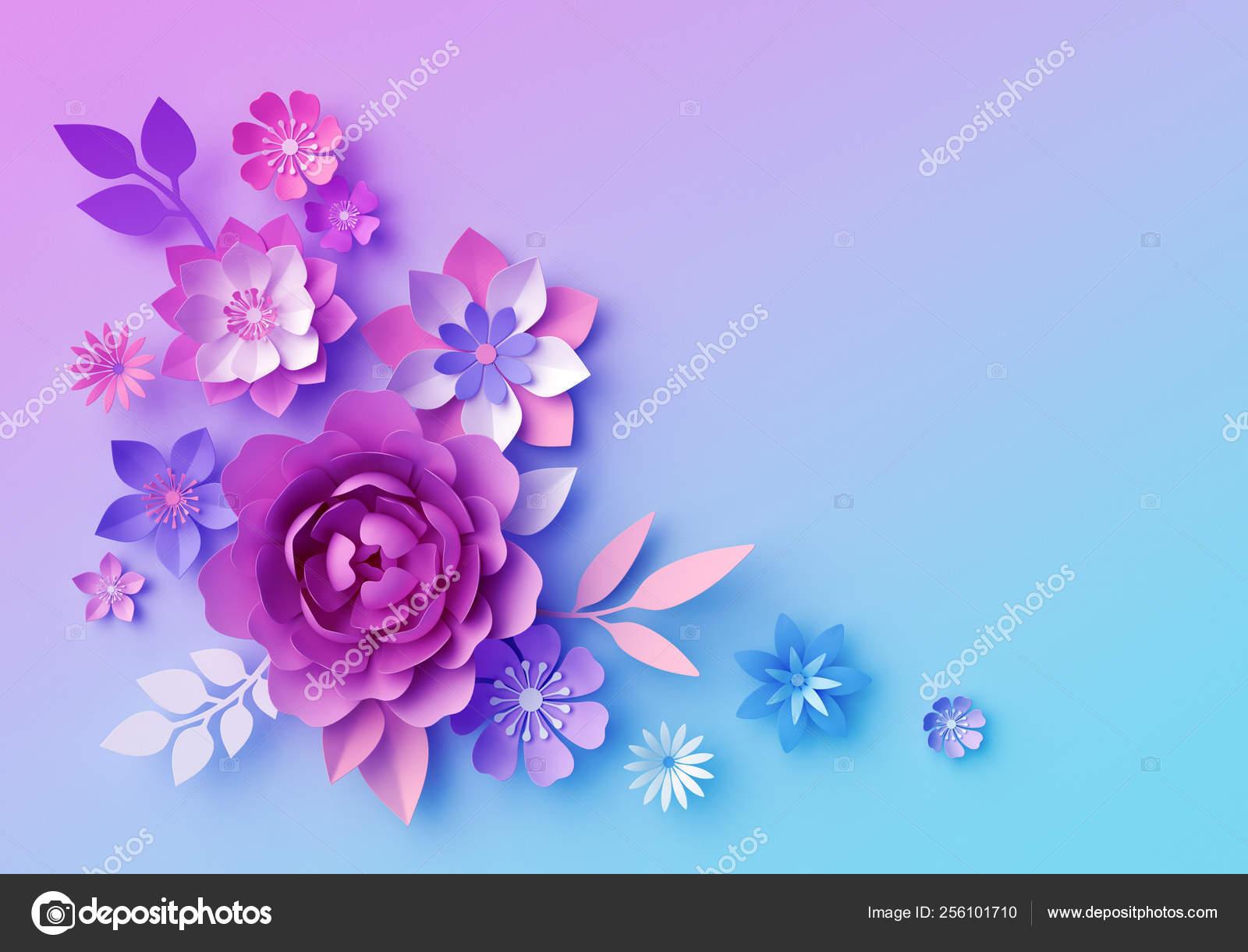 3d Render Botanical Neon Background Pink Blue Paper Flowers