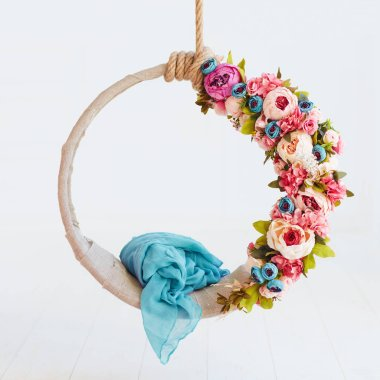 newborn baby photography swing, DIY floral hanging hoop