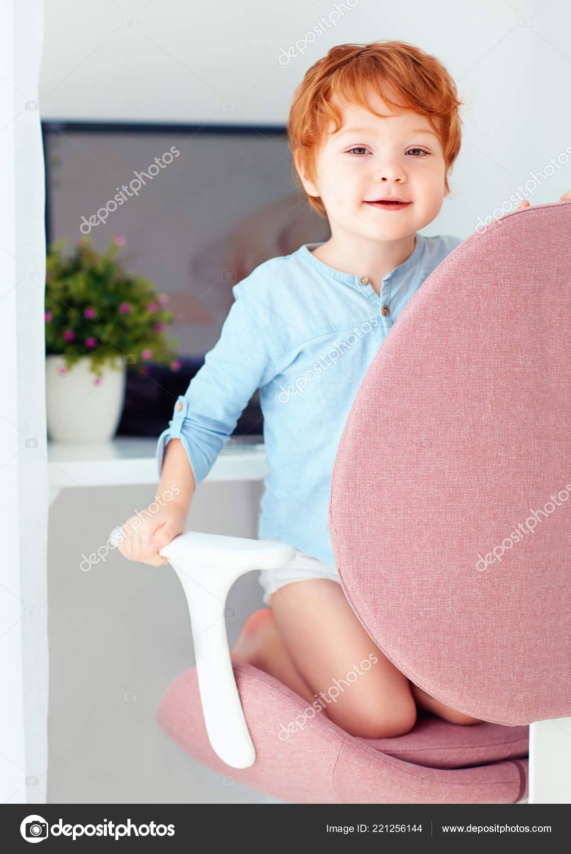 Marvelous Happy Redhead Toddler Baby Boy Sitting Office Chair Working Interior Design Ideas Apansoteloinfo