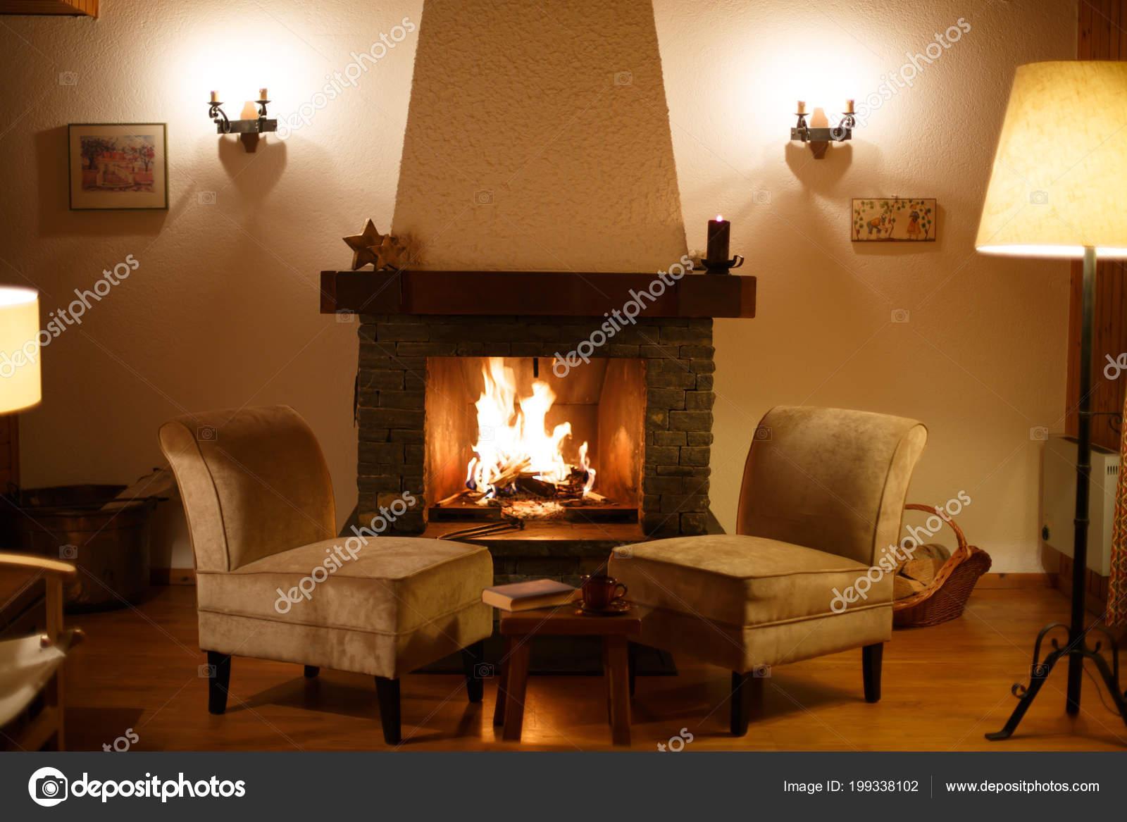 Gemütliche Entspannte Magische Atmosphäre Einem Chalet ...