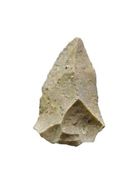 flint spear tip manufactured by Neanderthal man, using Levallois knapping method in middle Stone Age