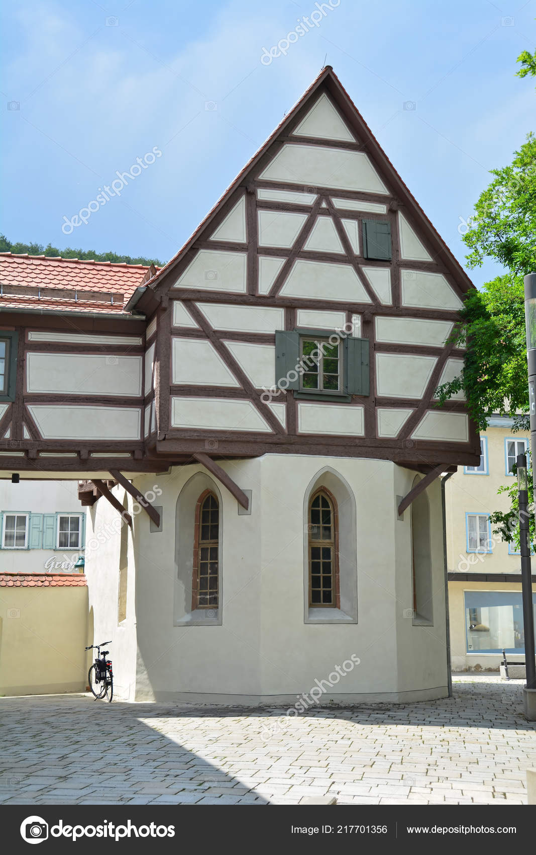 Small German Half Timbered House Medieval Town Cobbled Streets
