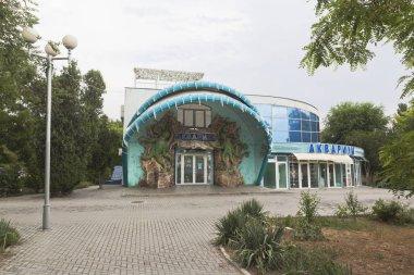 Evpatoria, Crimea - June 29, 2018: Evpatoria aquarium building in the Frunze Culture Park, Crimea