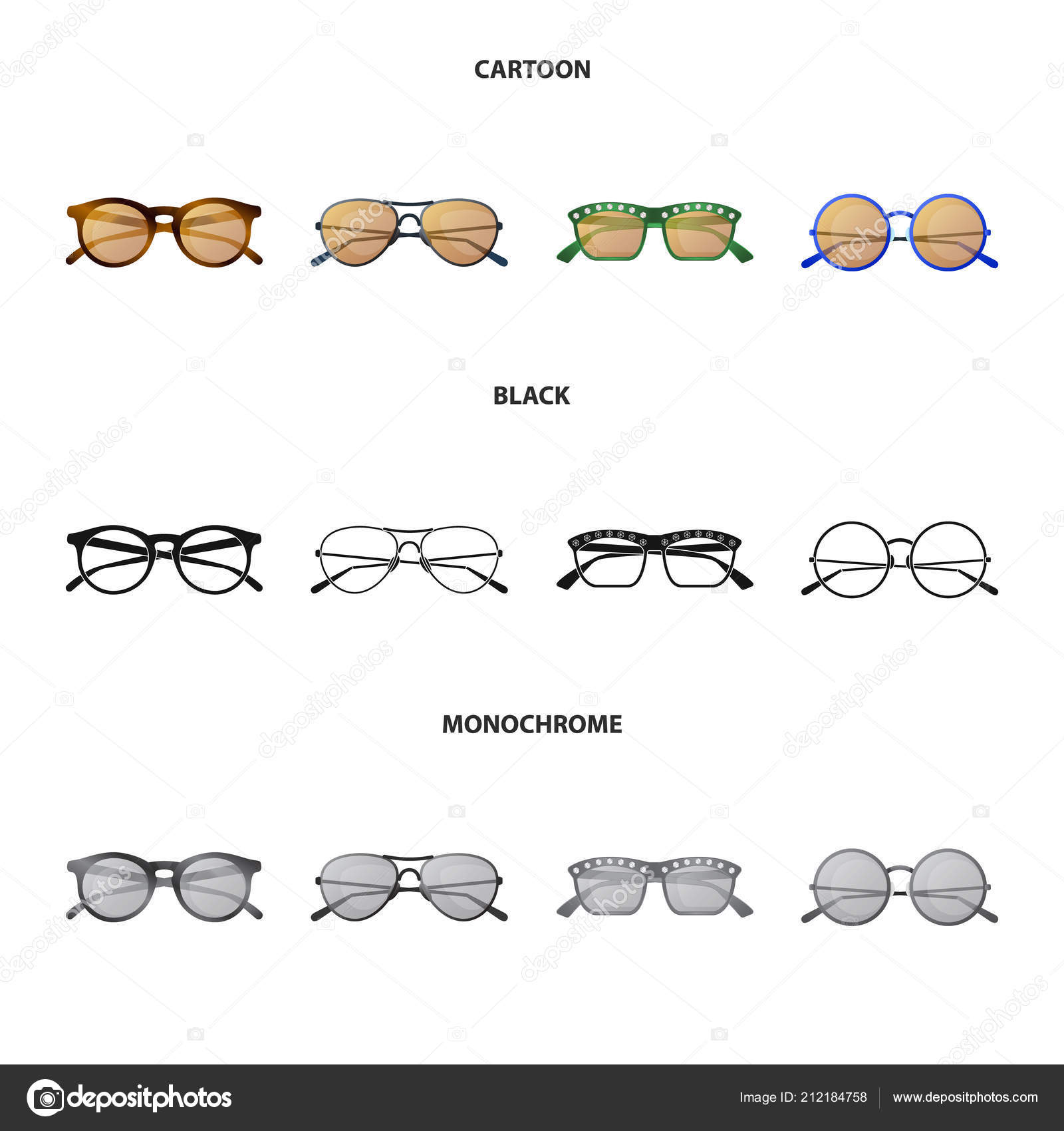 Vector Design Of Glasses And Sunglasses Symbol Set Of Glasses And