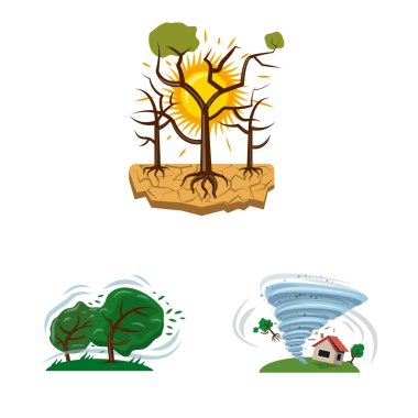 Vector design of natural and disaster symbol. Set of natural and risk vector icon for stock.