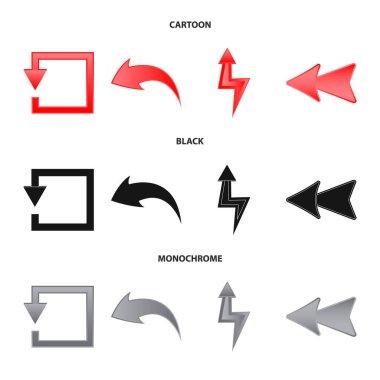 Vector design of element and arrow logo. Collection of element and direction stock vector illustration.