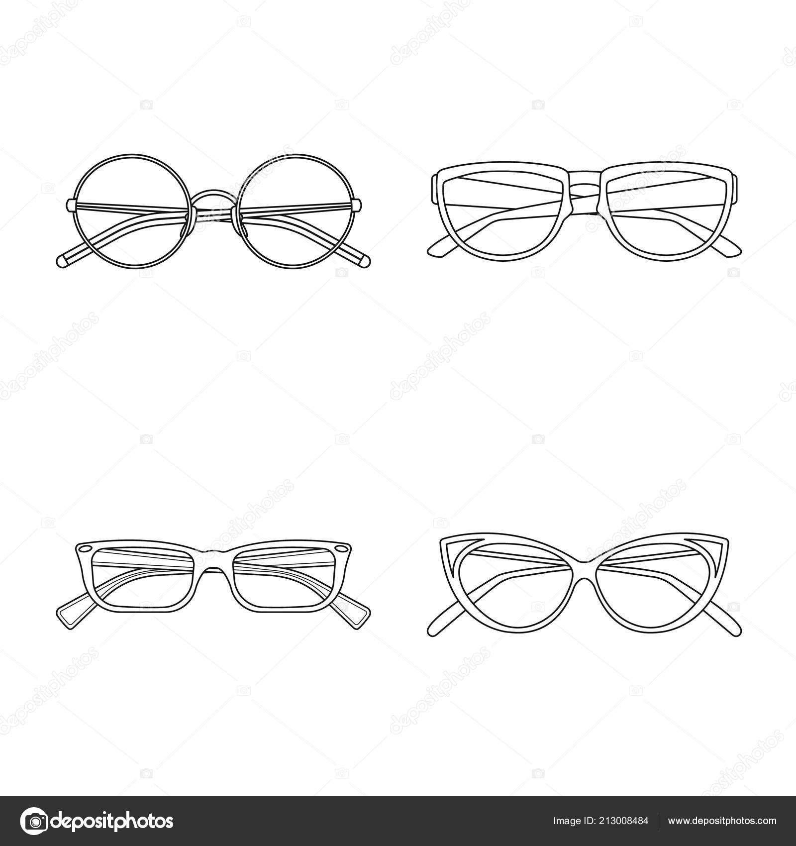 Vector Illustration Of Glasses And Frame Symbol Set Of Glasses And
