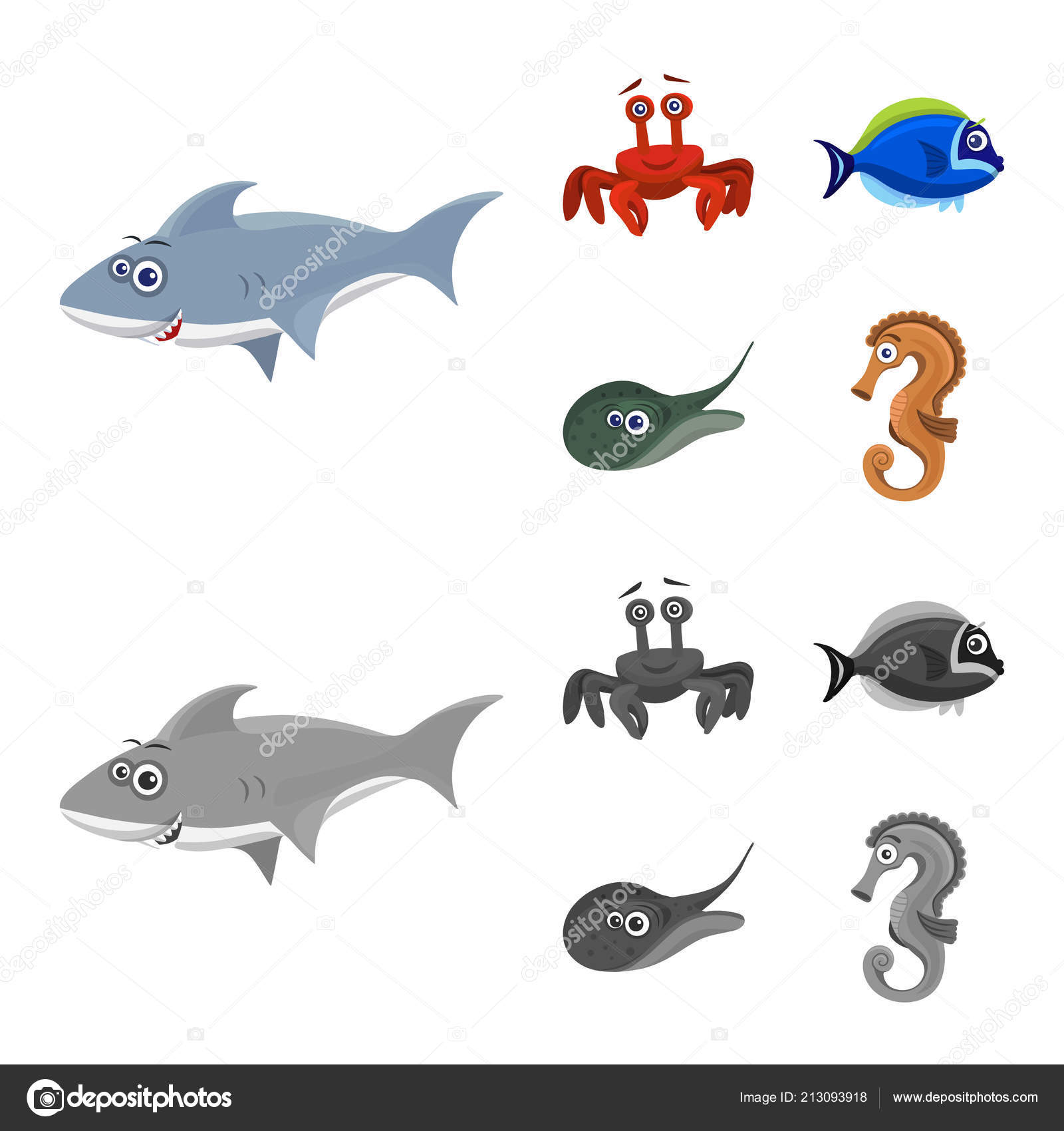 Isolated Object Of Sea And Animal Icon Set Of Sea And Marine Stock