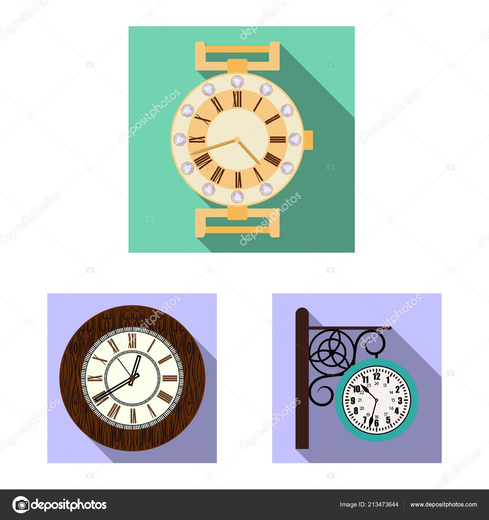 10f9fb6b5298 Objeto aislado del logo de reloj y tiempo. Colección de icono de vector de  reloj