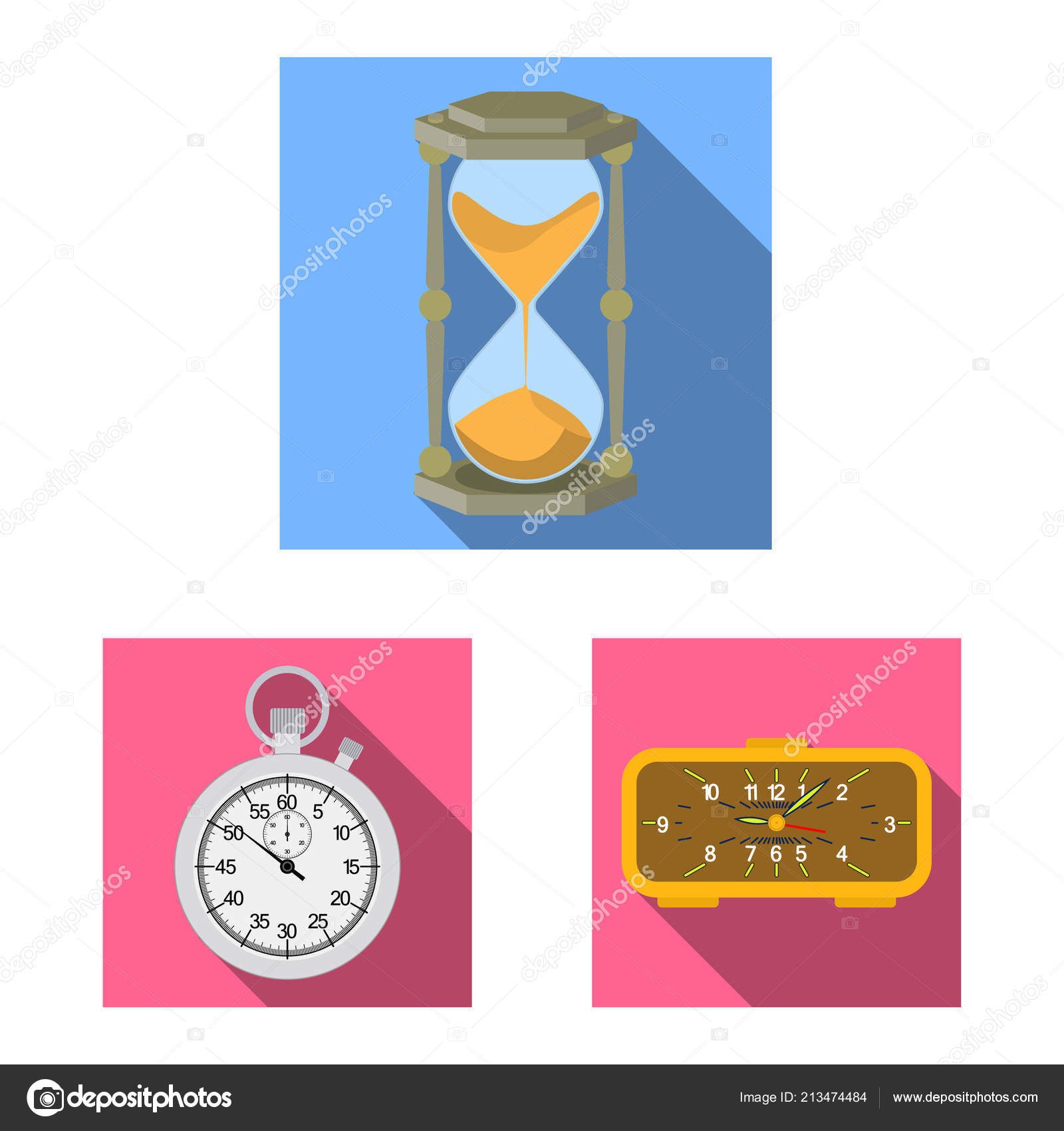 d544e4554681 Objeto aislado de la señal de reloj y tiempo. Colección de icono de vector  de