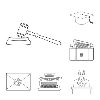 Isolated object of law and lawyer sign. Set of law and justice stock symbol for web.