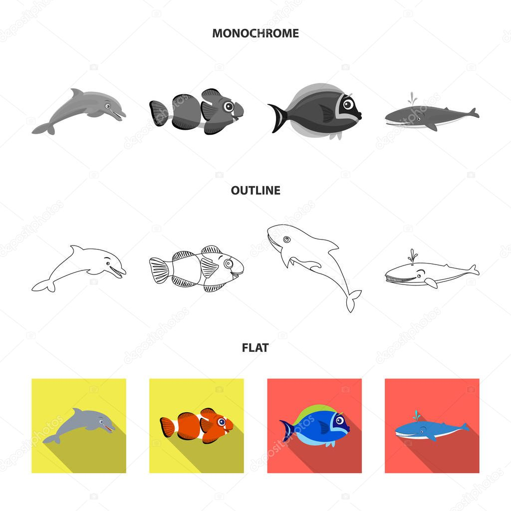 Vector design of sea and animal symbol. Set of sea and marine stock symbol for web.