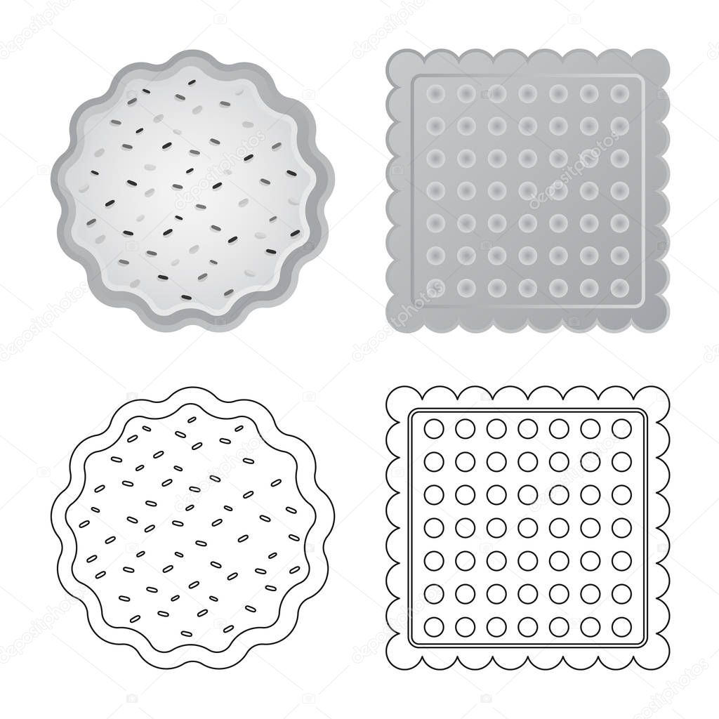 Vector design of biscuit and bake logo. Collection of biscuit and chocolate stock vector illustration.