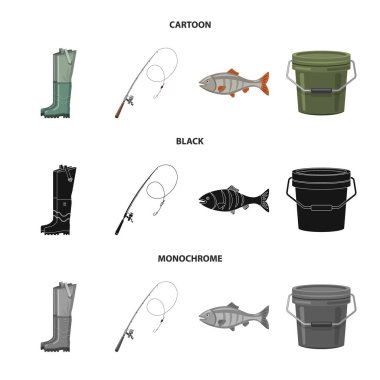 Vector illustration of fish and fishing symbol. Set of fish and equipment stock symbol for web.