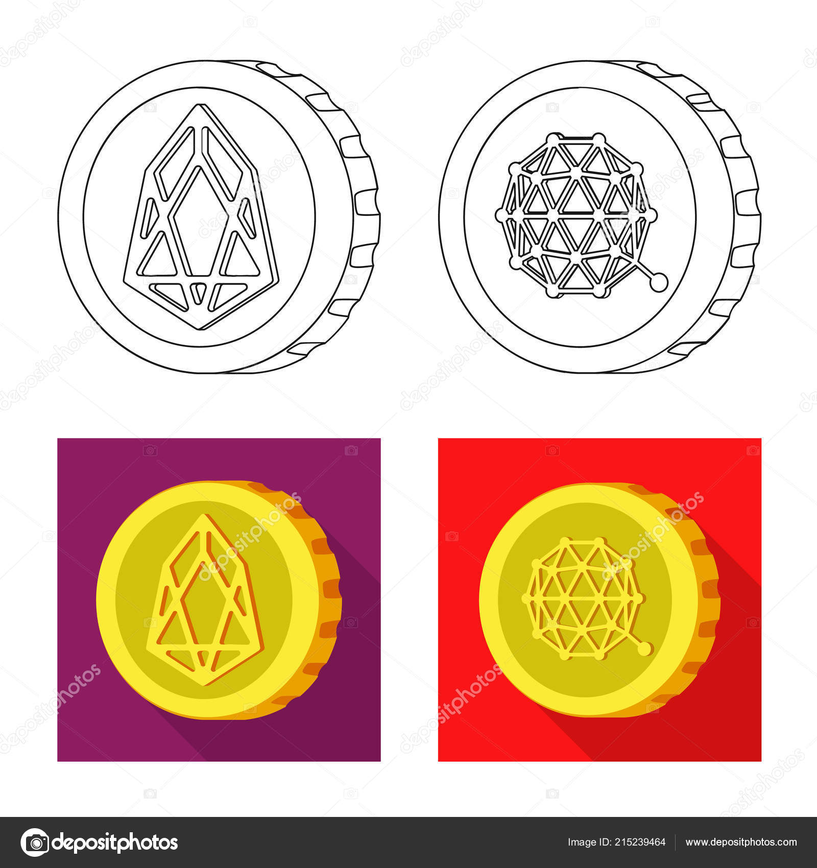Vector Illustration Of Cryptocurrency And Coin Sign Collection Of