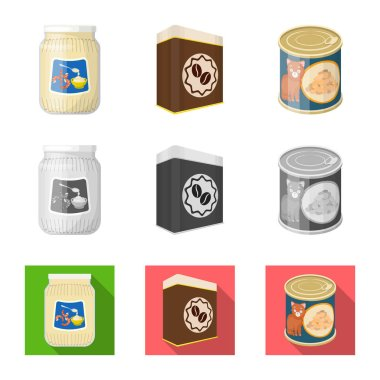 Vector illustration of can and food icon. Collection of can and package stock vector illustration.